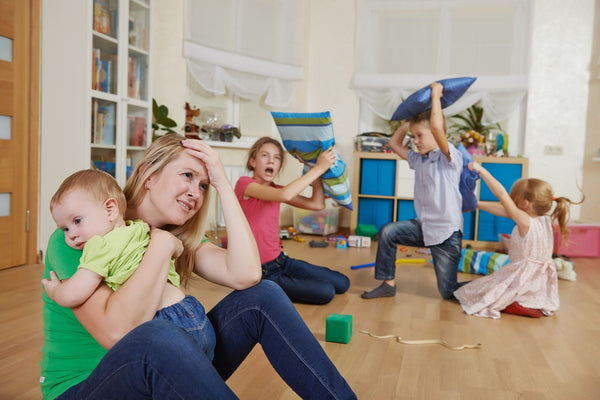 Stressed Busy Mum With Kids