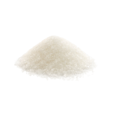 White Sugar Grain & Green Sugar Leaf On White Background
