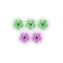 5 Purple & Green Wicca Pentagrams Denoting 5 Star Reviews With Verified 5 Star Reviews Written Around