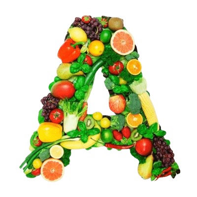 Letter A Made Up Of Vitamin A Rich Fruits & Vegetables Such As Corn & Peppers