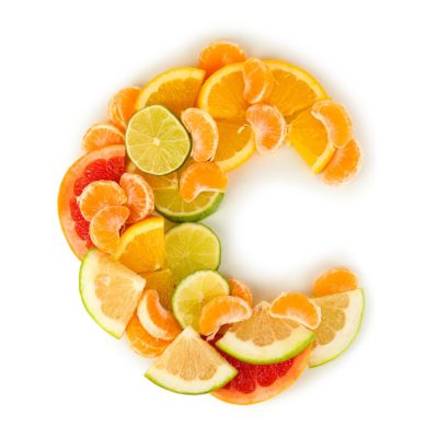 Letter C Made Up Of Vitamin C Rich Fruits Such As Oranges, Lemons, Grapefruits & Limes