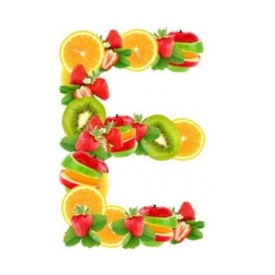 Letter E Made Up Of Vitamin E Rich Fruits & Vegetables