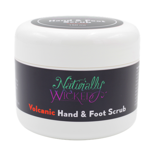 Naturally Wicked Exfoliating Volcanic Hand & Foot Scrub On Black Background