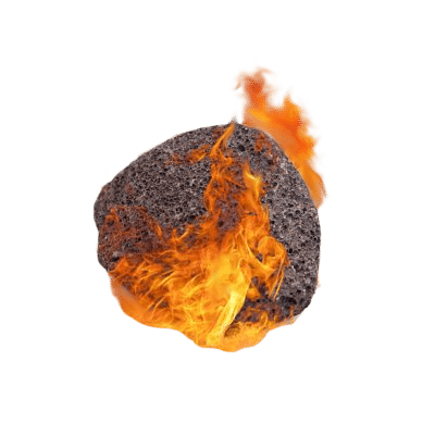 Natural Dark & Grainy Volcanic Pumice Stone Surrounded by Flames On White Background