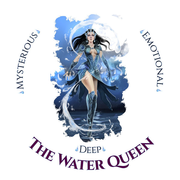 Naturally Wicked Water Queen Surrounded By Water & Text - Emotional, Mysterious & Deep