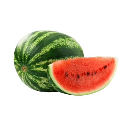 Red Juicy Slice Of Watermelon In Front Of Whole Green Watermelon