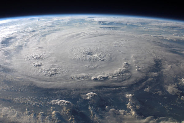 Earth From Outer Space With Hurricane In Shot