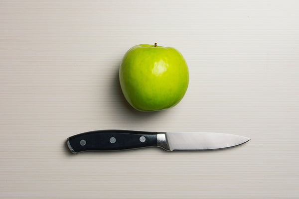 Healthy Green Fresh Apple and Sharp Knife