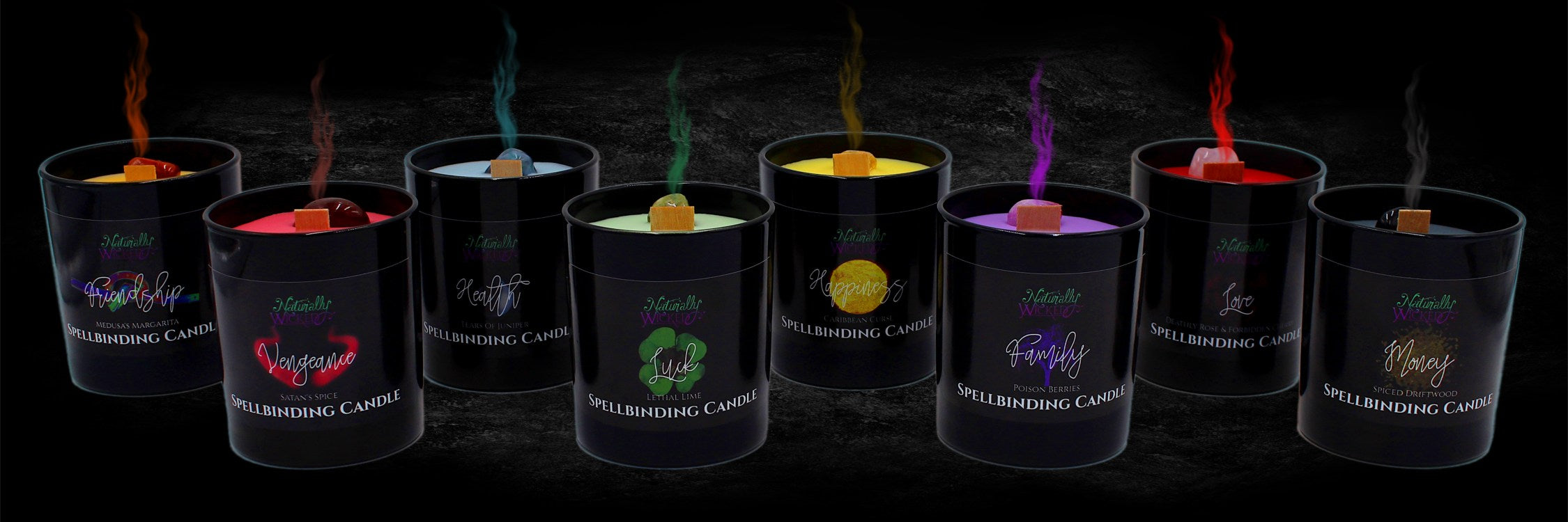 8 Naturally Wicked Spellbinding Candles In Black Gloss Glasses; each labelled with a wicked spell in mesmerising colours
