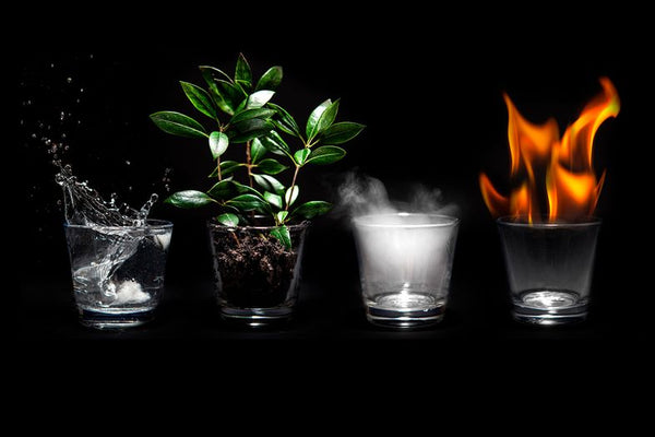 Natural Elements on black background, earth, water, air & fire