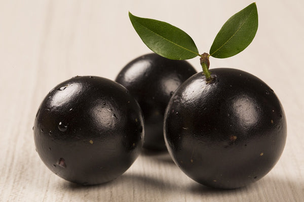 black fruit on white background