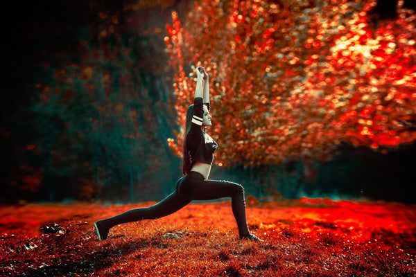Woman lunging in nature