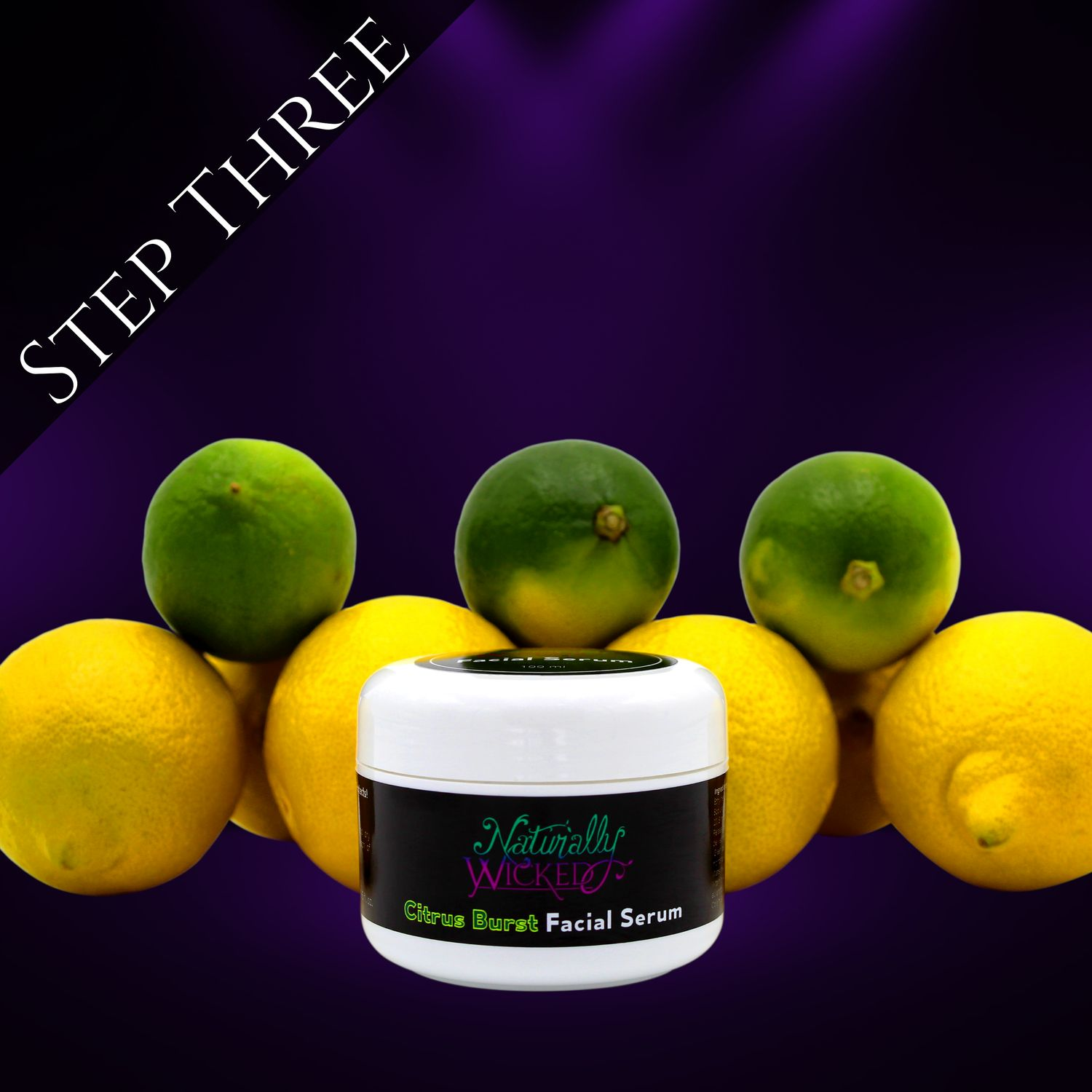 Naturally Wicked Citrus Burst Moisturising Facial Serum Surrounded By Citrus Fruits - Step 3