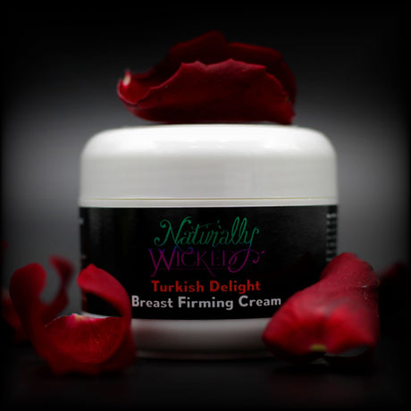 Naturally Wicked Turkish Delight Breast Firming Cream Surrounded By Fluttering Bright Red Rose Petals - Step 1