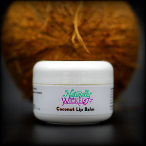 Naturally Wicked Protective Coconut Lip Balm With Brown Coconut Husk Behind