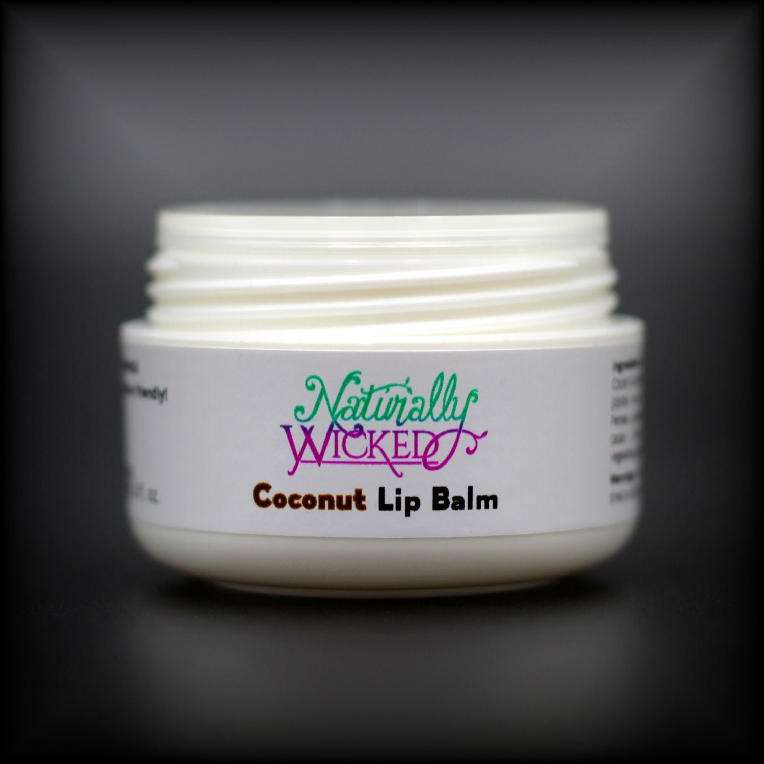Naturally Wicked Coconut Lip Balm Container Without Lid, Exposing Screwed Lid Connection & Seal