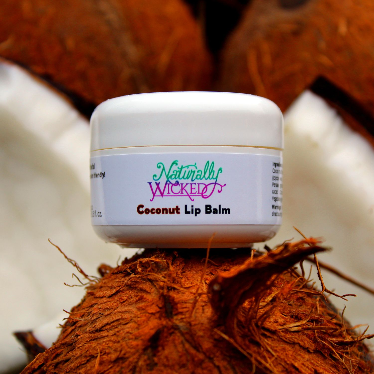 Naturally Wicked Coconut Lip Balm Sat On Top Of Brown Coconut Shell Between Broken White Inner Coconuts