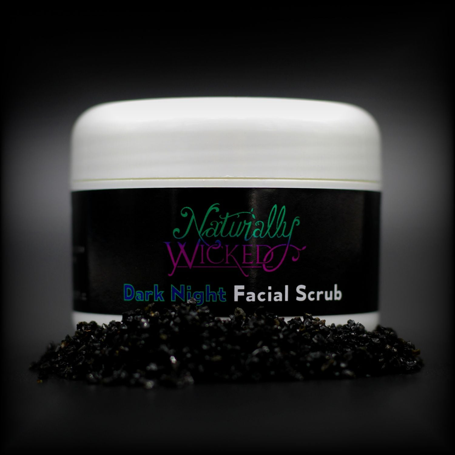 Naturally Wicked Dark Night Facial Scrub Surrounded By Absorbant Black Charcoal