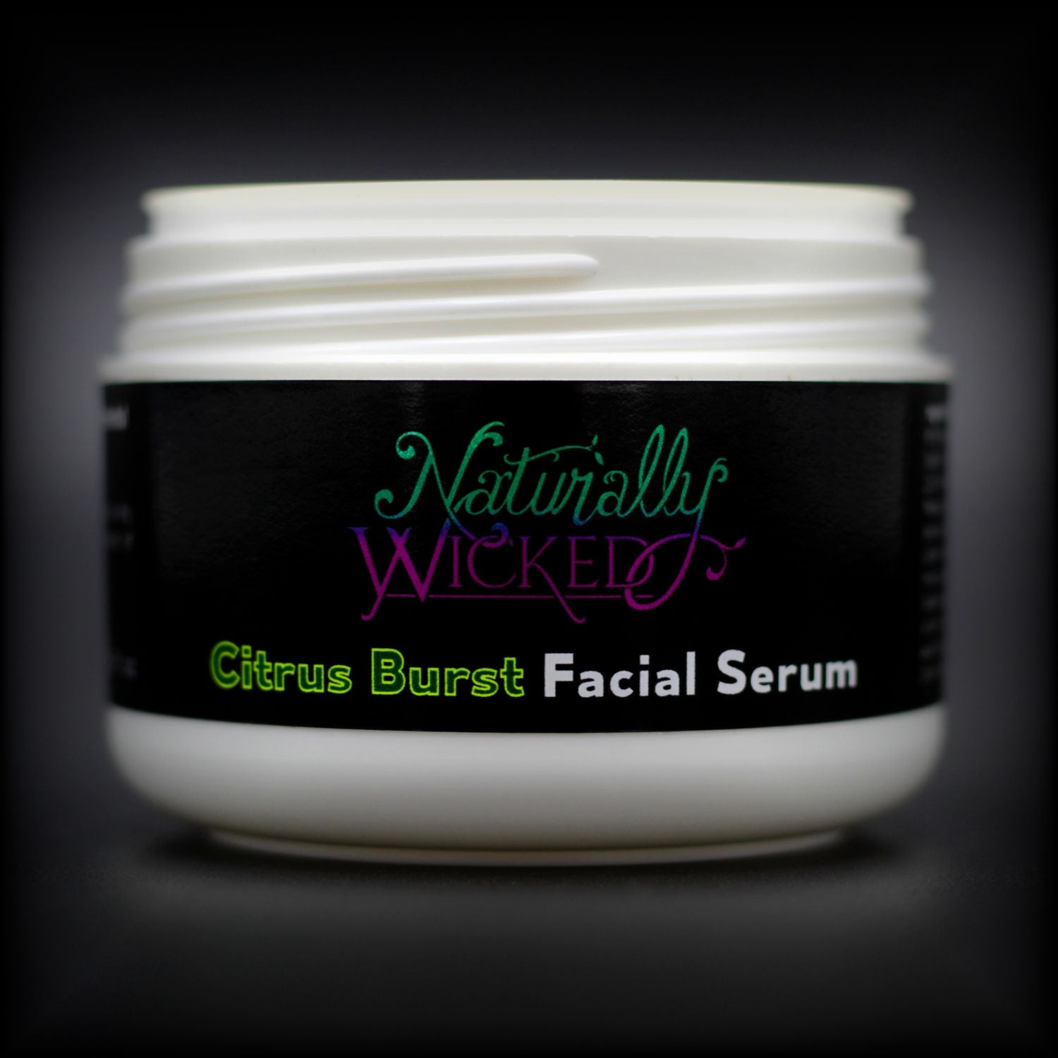 Naturally Wicked Citrus Burst Facial Serum Container Without Lid, Exposing Screw Connection & Seal