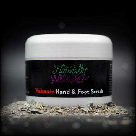 Naturally Wicked Exfoliating Volcanic Hand & Foot Scrub Surrounded By Grey Volcanic Ash  - Step 1