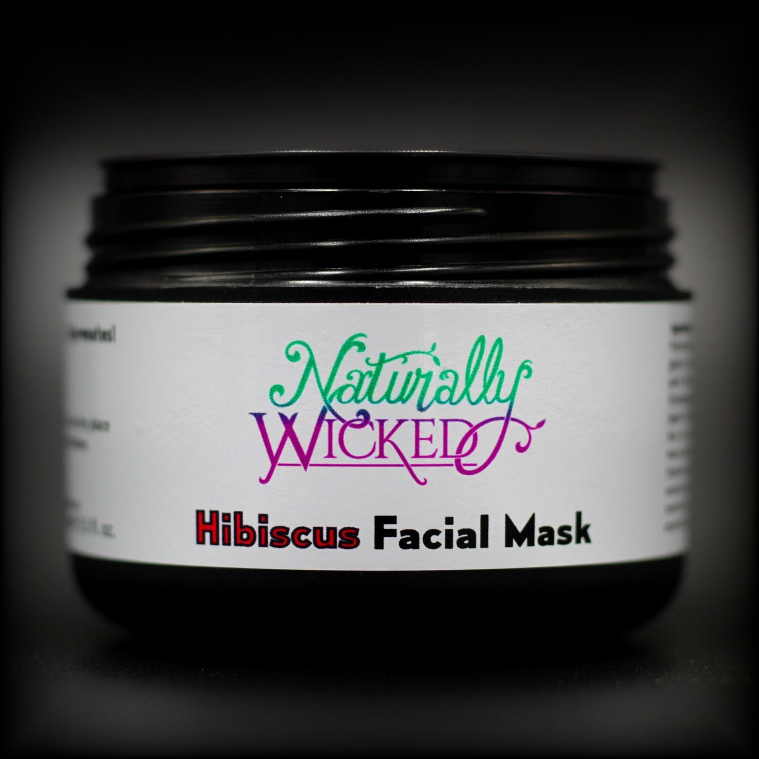 Naturally Wicked Hibiscus Facial Mask Container, Seal & Luxury Screw Connection With Lid Off