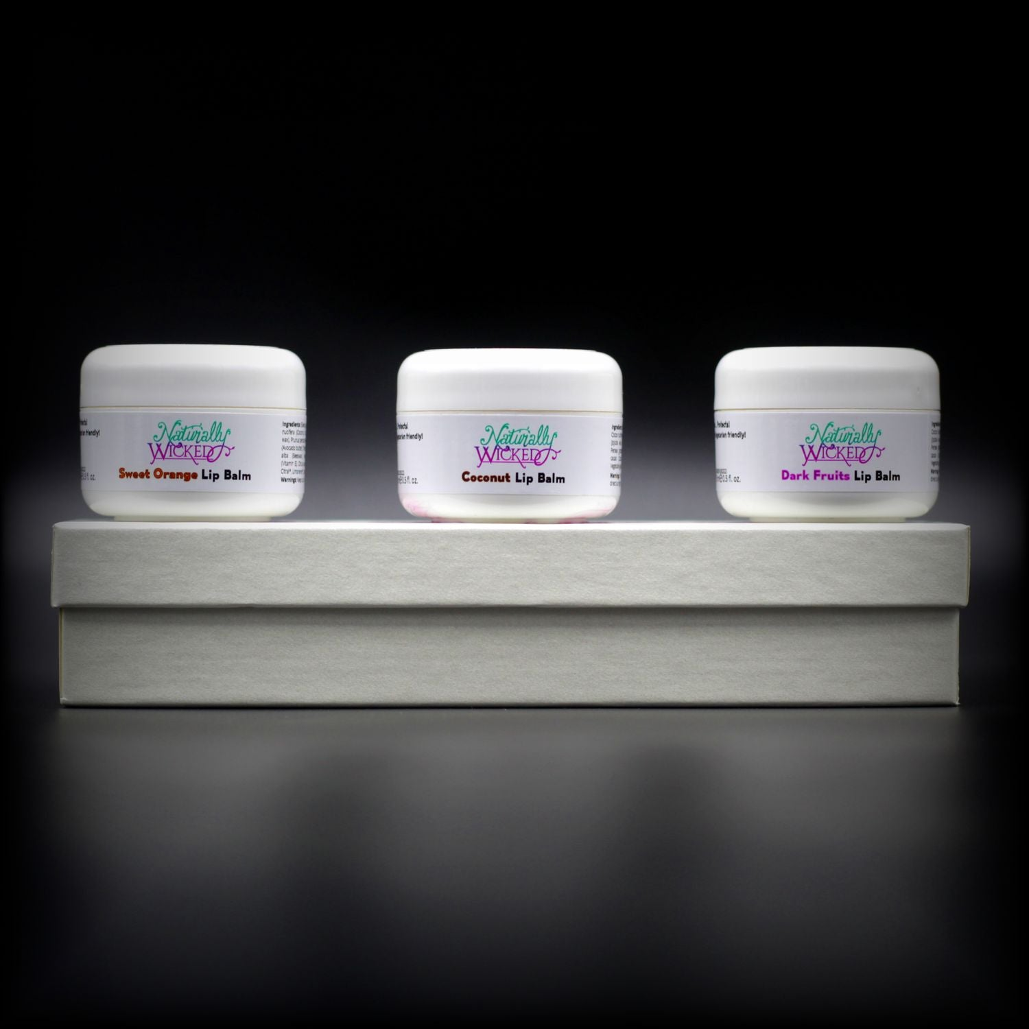 Naturally Wicked Lip Balm Trio Box Under Three Fruit Filled, Hydrating Lip Balms; Orange, Coconut & Dark Fruits