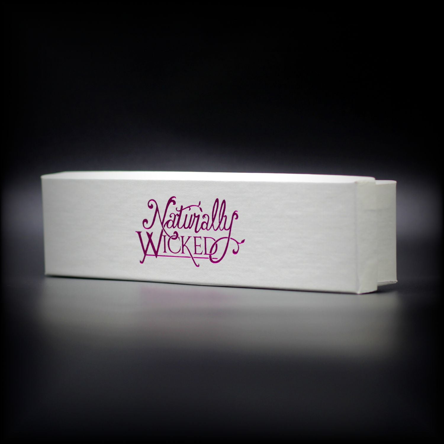 Naturally Wicked Lip Balm Trio Outer Gift Box; Pure White With Metallic Pink Naturally Wicked Logo Across Front