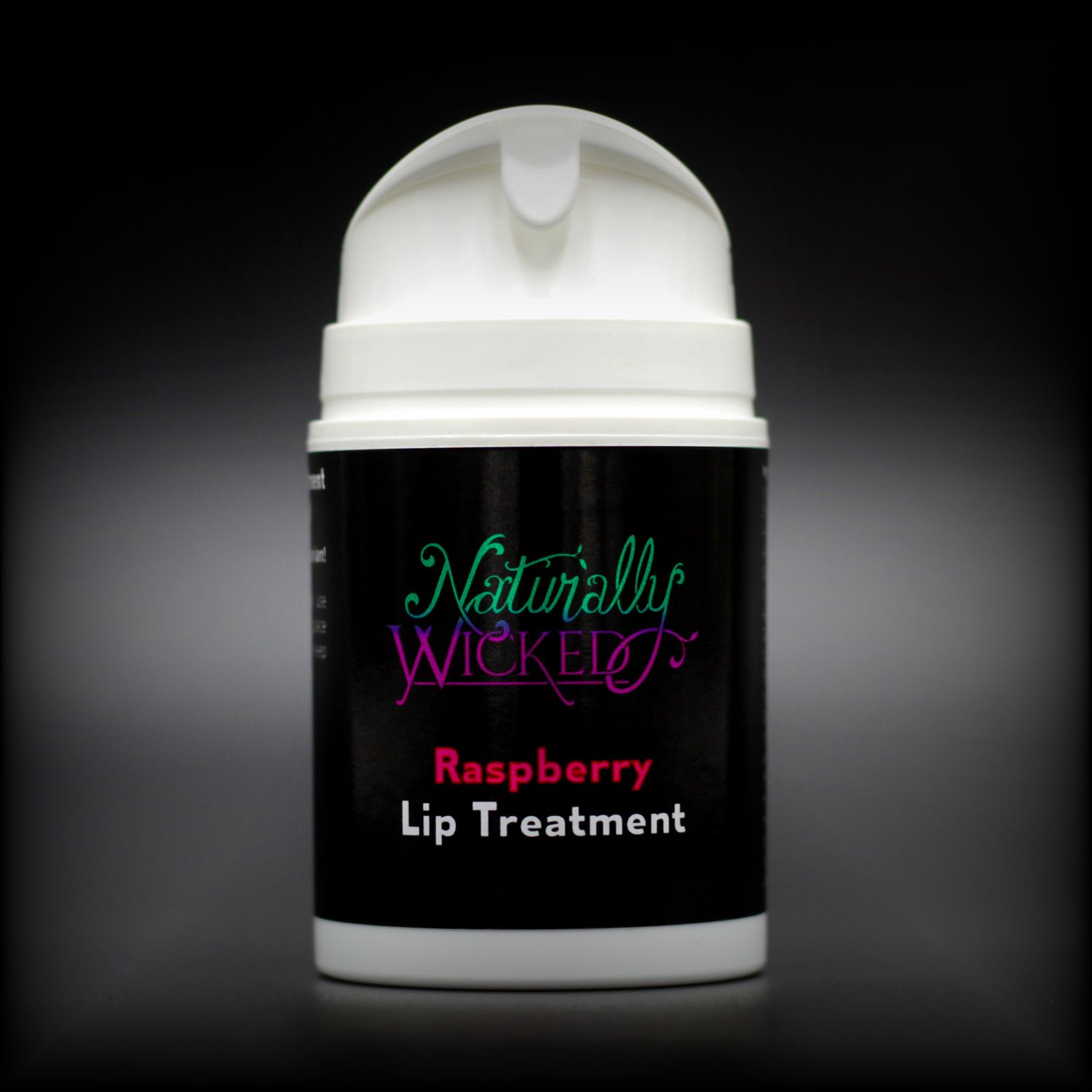Naturally Wicked Raspberry Lip Treatment Container Without Lid Revealing Dispenser & Protective Seal