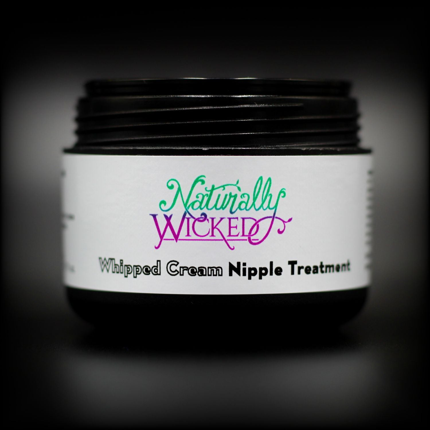 Naturally Wicked Whipped Cream Nipple Treatment Container Without Lid Exposing Seal & Screw Connection