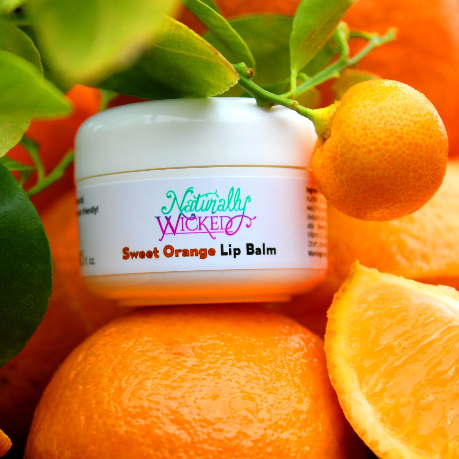 Naturally Wicked Sweet Orange Lip Balm Sat On Top Of Orange Besides A Green Citrus Tree With Fruits Attached
