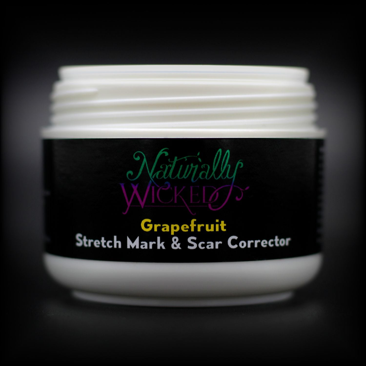 Naturally Wicked Grapefruit Stretch Mark & Scar Corrector Without Lid Exposing Seal & Screw Connection