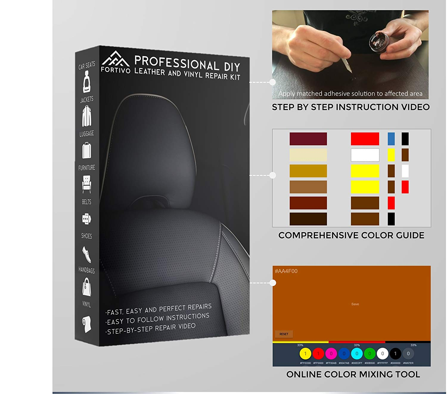 Fortivo Leather And Vinyl Repair Kit Furniture Couch