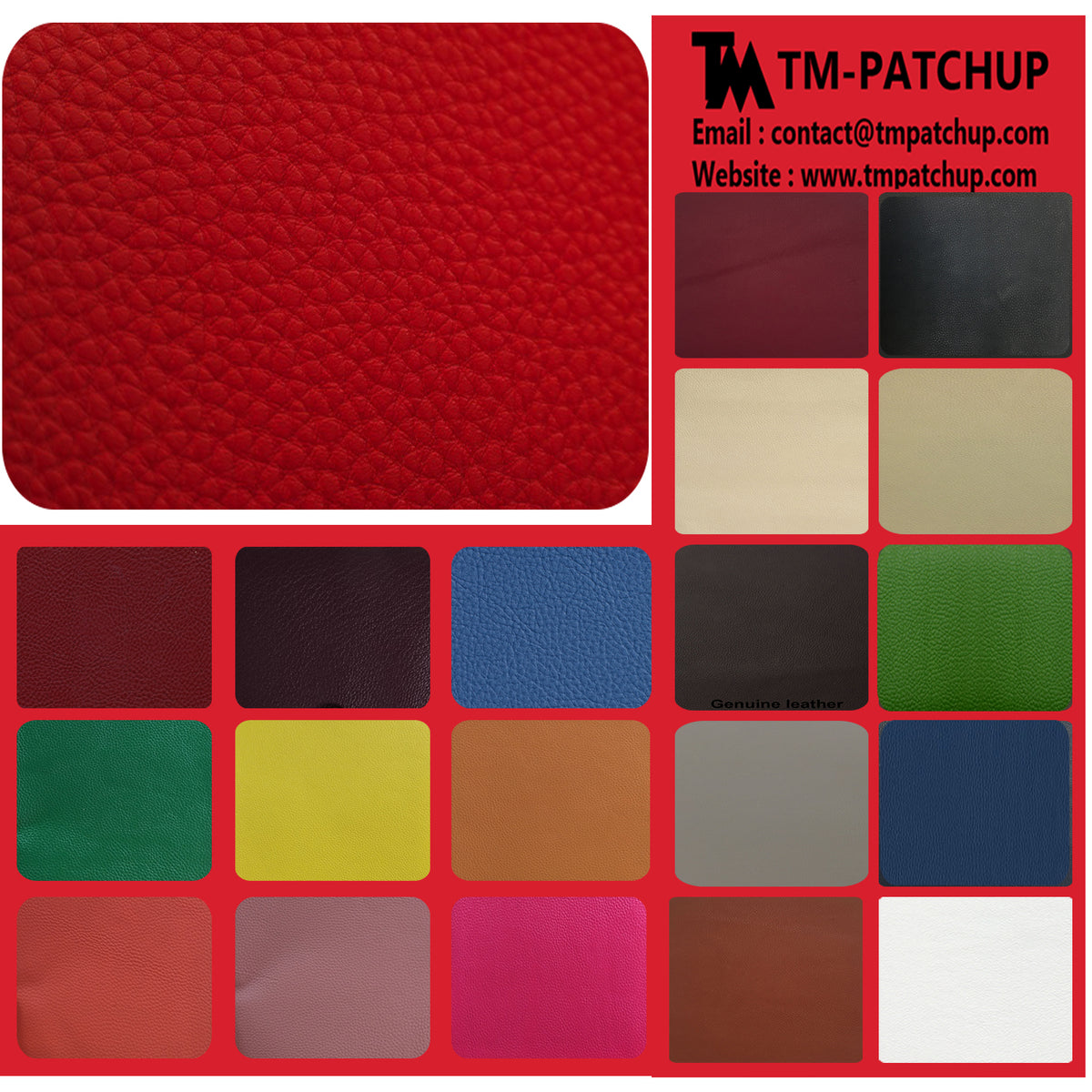 Red Genuine Leather Repair Patch Kit | Free KN95 Face Masks - TM Leather