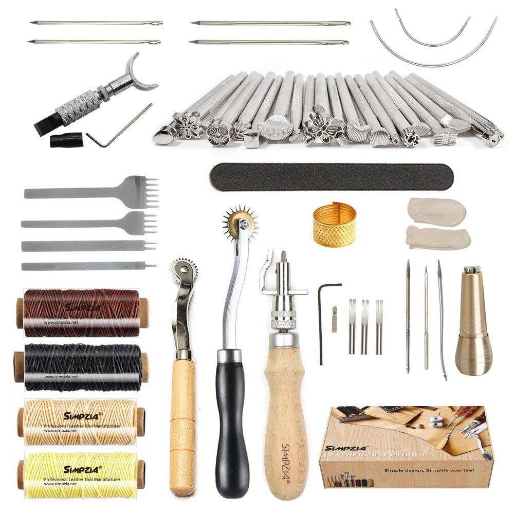 Leather Craft Tools Kit Hand Sewing Stitching Making Groover Stamping Punch Set