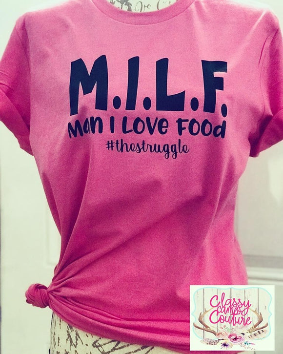 ADULTS - MILF - Man I Love Food Roundneck Tee
