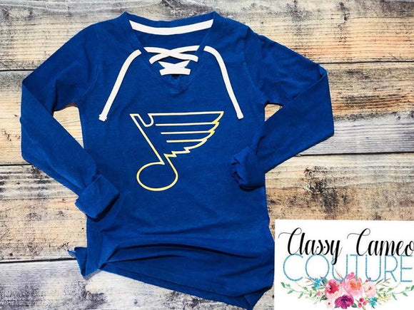 STL Blues Lace Up Tee