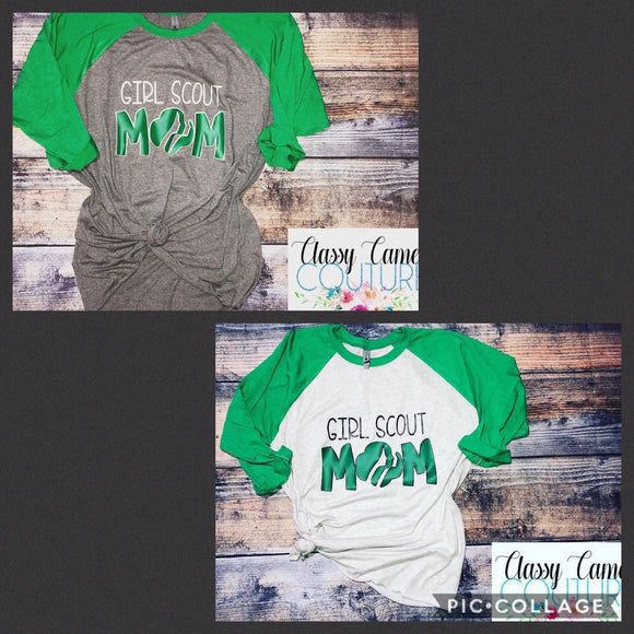 ADULTS - Girl Scout Mom Baseball Tee