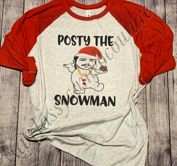 KIDS - Posty the Snowman Baseball Tee