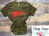 ADULTS - Camo Flag Roundneck Tee