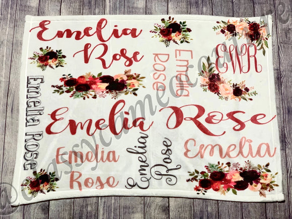 Mauve Floral Name Blanket