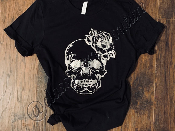 ADULTS - Floral Skull Halloween Tee