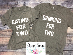 ADULTS - Eating for 2 - Drinking for 2 Pregnancy Announcement Set