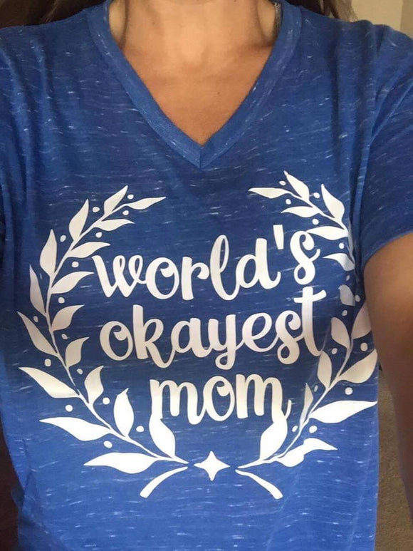 ADULTS - World's Okayest Mom V-neck Tee