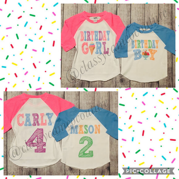 KIDS - Sundae Funday Birthday Girl & Birthday Boy Baseball Tees