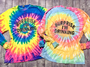 ADULTS - Surprise I'm drinking short or long sleeve tee