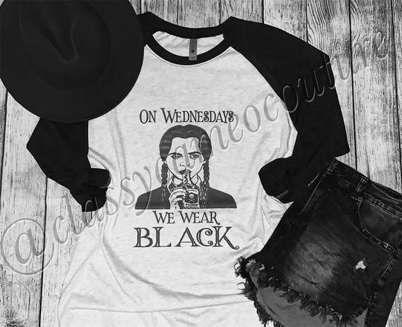 ADULTS - On Wednesdays We Wear Black Baseball Tee