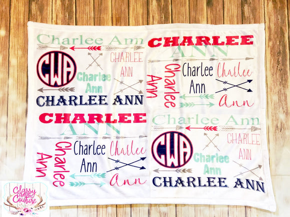 Arrows Boy/Girl Name Blanket