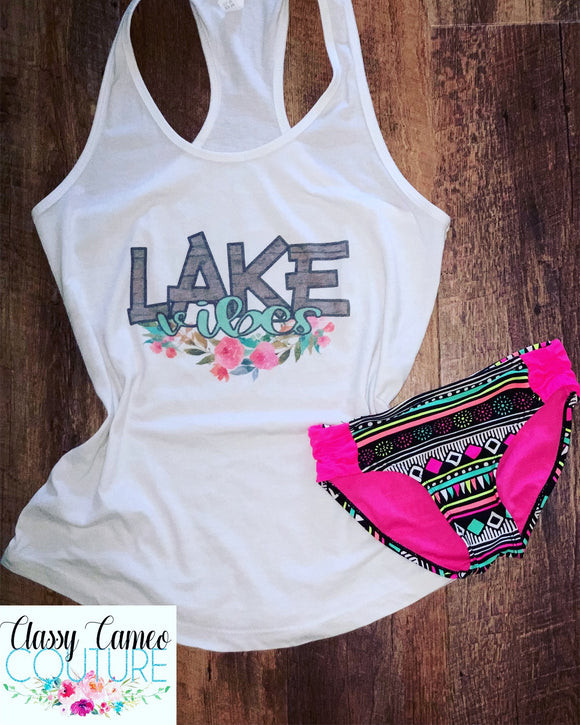 KIDS & ADULTS - Lake vibes floral racerback tank top