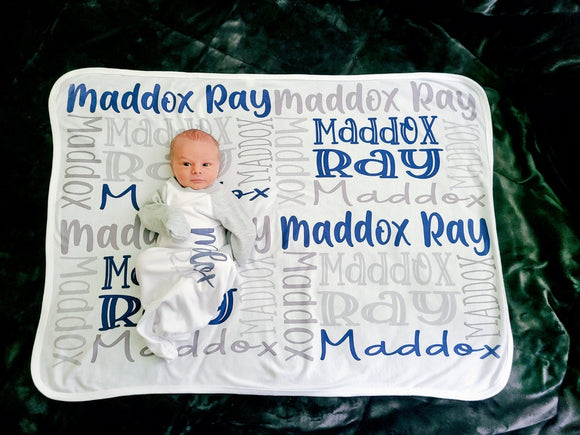 Baby Name Swaddle Blanket & Matching Gown (optional)