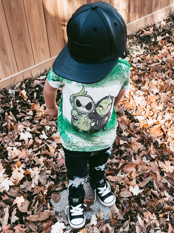 KIDS & ADULTS - Jack & Grinch Bleached Tee
